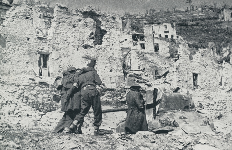 New Zealand wounded brought through Cassino ruins with Red Cross