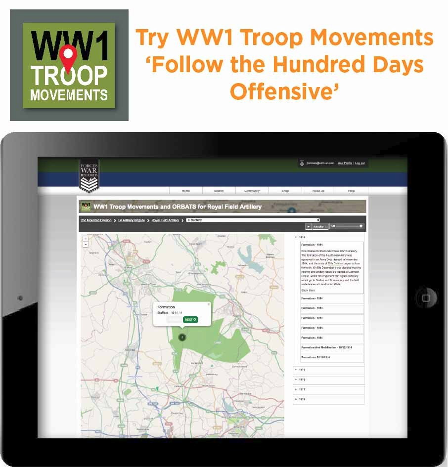WWI Troop movements - Follow the Hundred Days offensive