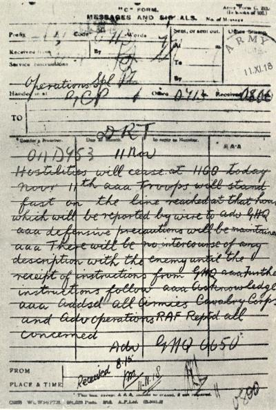One of the telegrams sent out on Army Form C 212 by Advance General Headqauarters announcing the signing of the Armistice