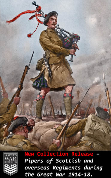 Pipers of Scottish and overseas Regiments during the Great War 1914-18. (image coloured by Doug Banks)