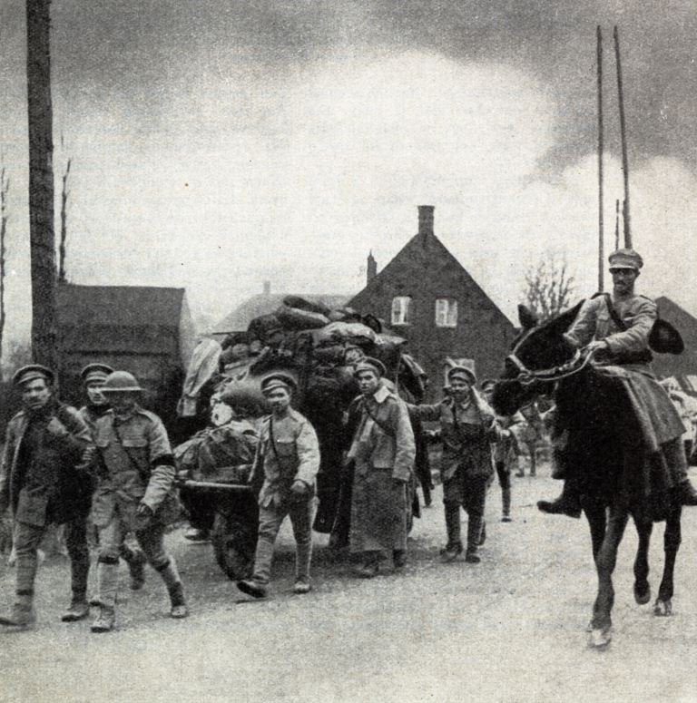 Portuguese troops on fatigue duty near Merville on April 12th 1918