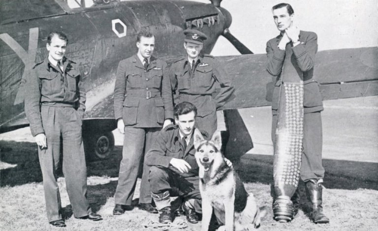 RAF Night fighter Sqdn with mascot and 'Scoreboard'