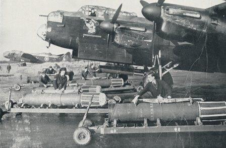 RAF armourers bombing up an Avro Lancaster