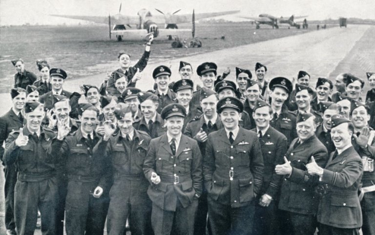 RAF bomber crews after Cologne Ruhr Rhineland raid 30th May 1942