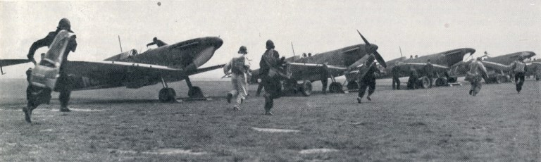 RAF fighter pilots scramble to Spitifres during Battle of Britain 1940