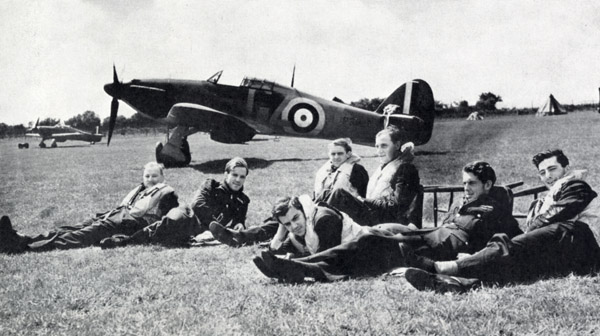 RAF pilots who have just returned from their thrilling air victory over Nazi raiders on 29th July 1940