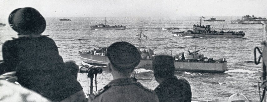 Royal Navy boats approaching Dieppe 19th August 1942