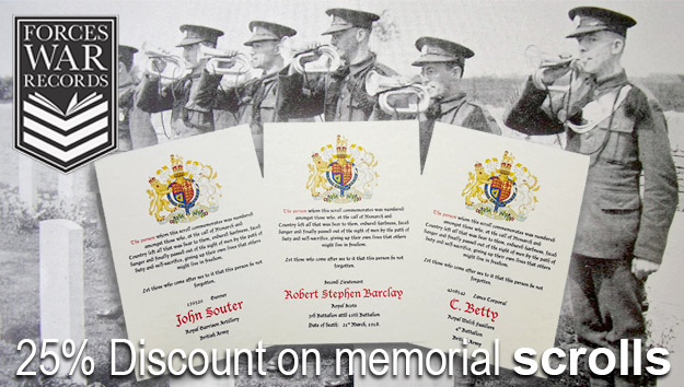 25% discount on our custom Memorial Scrolls to commemorate your military ancestor.