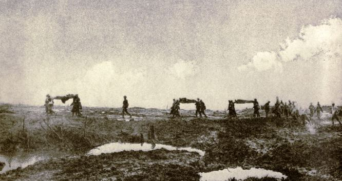 Stretcher bearers of the 2nd Canadian Division bringing in wounded during the battle of Passchendaele