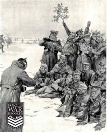 British and German troops fratenize, December 1914