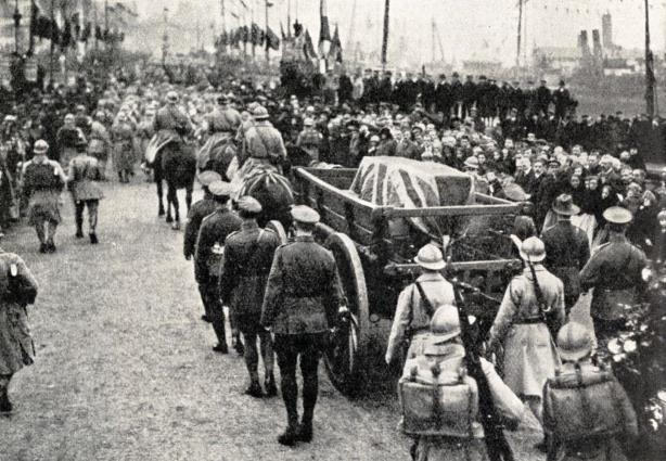 Unknown Warrior leaving France on a wagon