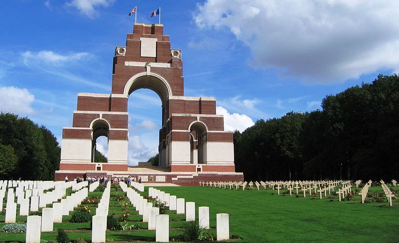 The Thiepval Memorial bears the names of more than 72,000 officers and men of the United Kingdom and South African forces who died in the Battles of the Somme during WW1
