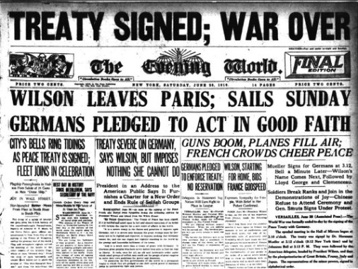 Treaty of Versailles Newspaper Article - Wiki Image