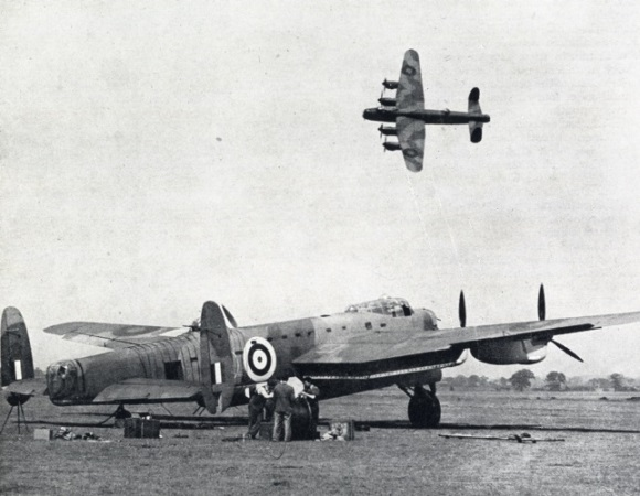 Two Lancasters, one in flight and the other with its 8-ton load ready for an operation