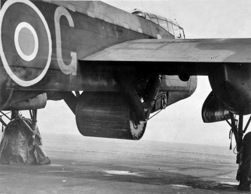 A practice 10.000 lbs 'Upkeep' weapon attached to the bomb bay of Wing Commander Guy Gibson's Avro Type 464 (Provisioning) Lancaster, ED932/G 'AJ-G', at Manston, Kent, while conducting dropping trials off Reculver. (Wiki image)
