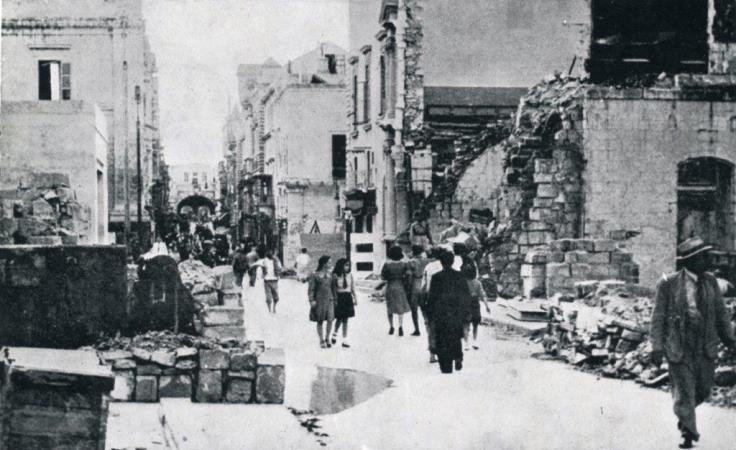 Valetta street after German air raid in Malta
