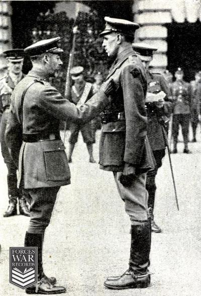 DVictoria Cross investiture at Buckingham Palace on March 27th 1917 King George V presenting VC to Lieutenant F M W Harvey