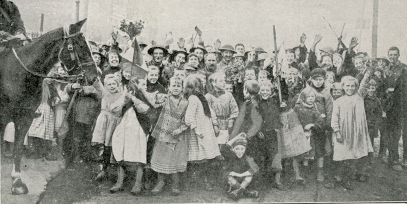 Women and children of Lille greet British troops - October 17th 1918