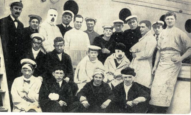 Wounded men on a hospital ship after Jutland