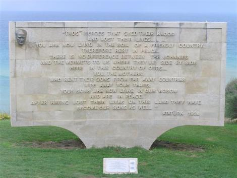 Memorial at Anzac Cove via Wikipedia Commons PD-release