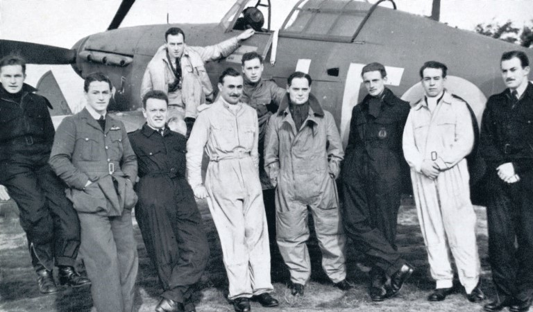 Douglas Bader with pilots and Hurricane