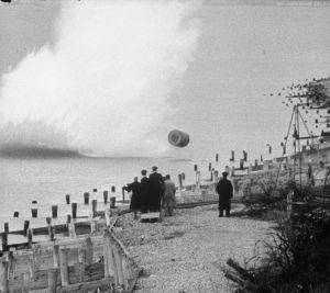 Bouncing bomb being dropped during a training flight by members of RAF 617 Squadron at Reculver bombing range, Kent. Picture from Wikimedia Commons.
