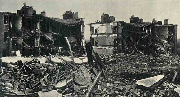 Blocks of tenant dwellings were shattered in the Clydeside blitz, with severe loss of life.