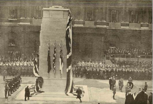 King George V unveiling the Cenotaph on November 11th 1920 as Big Ben struck the first stroke of eleven o'clock