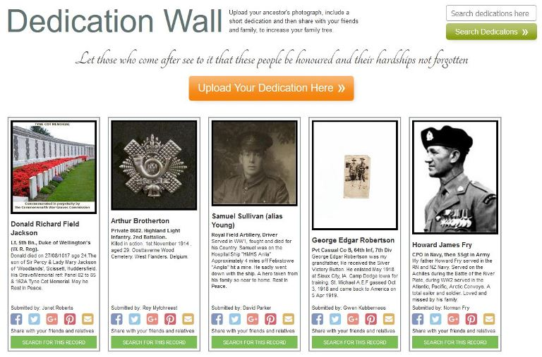 Forces War Records Dedication Wall