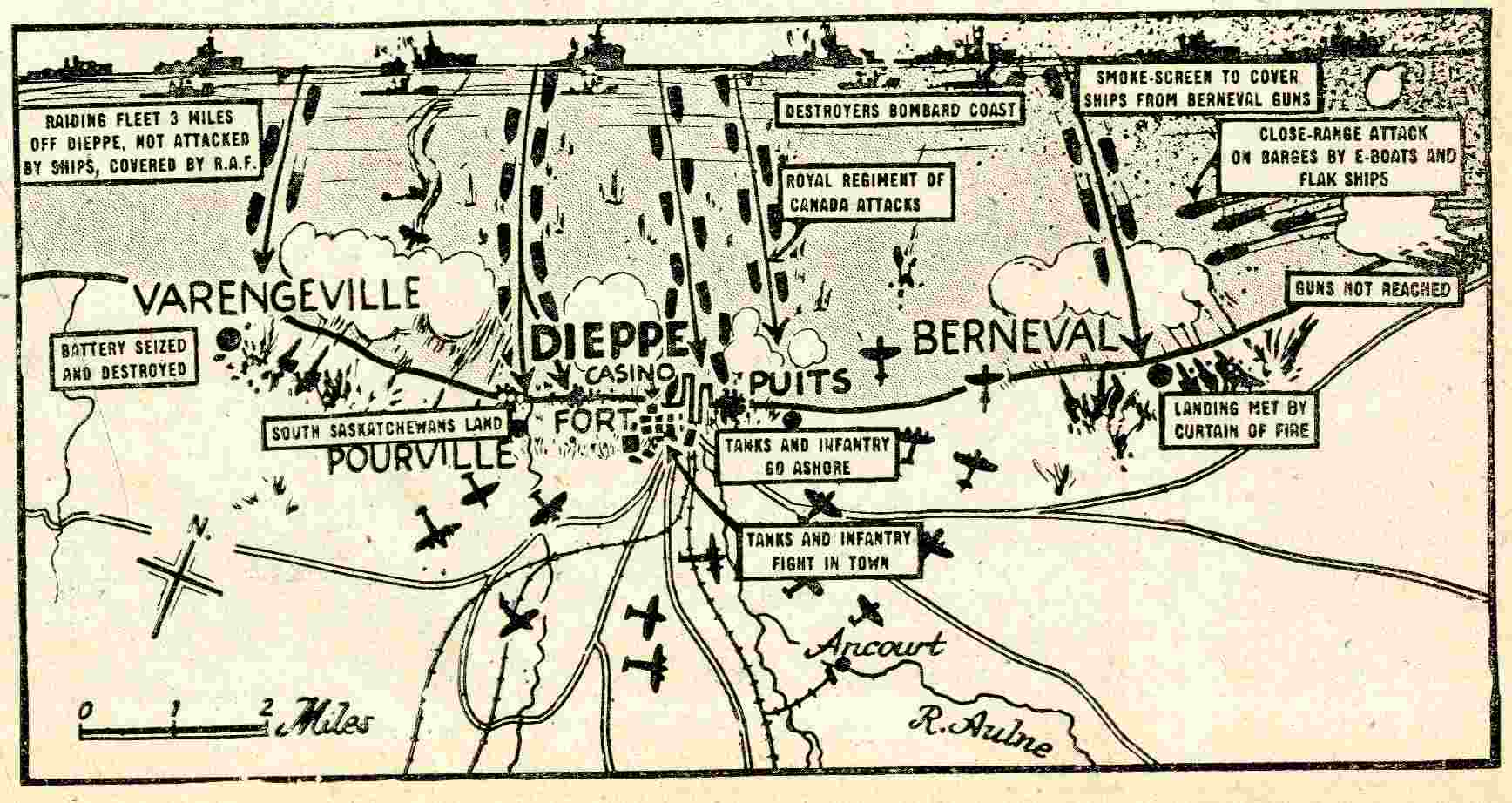 Map of the Dieppe Raid