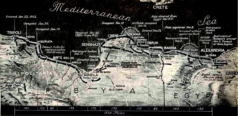 Map of Montgomer's Advance into Tripoli