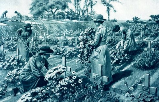 Gardeners attached to Q.M.A.A.C tending the graves of British soldiers in France