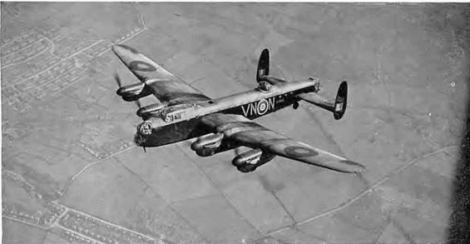 Lancaster - like the one Mr Clarke would have flown during WWII. From the Forces War Records Library