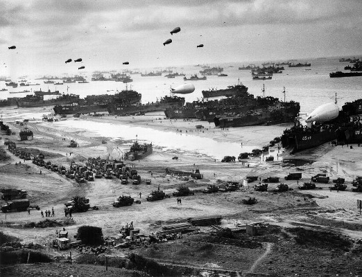 landing ship putting cargo ashore on Omaha Beach - Wiki Image