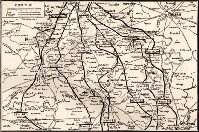 The map shows part of the terrain over which the British troops were forced to retire in the days immediately succeeding the German Spring Offensive
