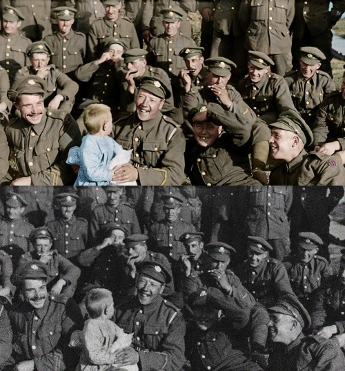 Colourised footage artistic rendition 2018 - THEY SHALL NOT GROW OLD by WingNut Films with Peter Jackson. Original black and white film © IWM