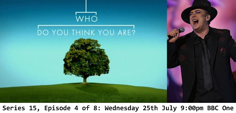 Eighties popstar, Boy George travels to Ireland in his episode of Who Do You Think You Are? BBC One 25th July 9pm