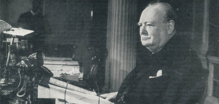 Winston Churchill gives Victory speach from his office
