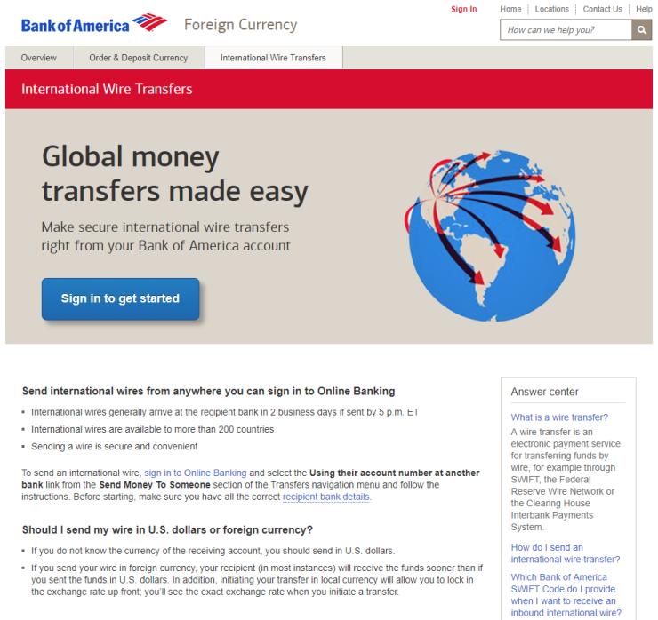 Bofa International Wire Transfer   Bofa International Payments Review Fxcompared