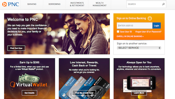 pnc screenshot online banking