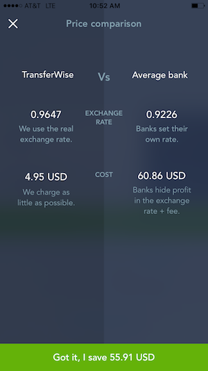 transferwise currency comparison app