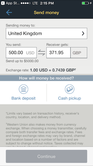 western union app screenshot