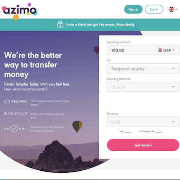 azimo homepage screenshot