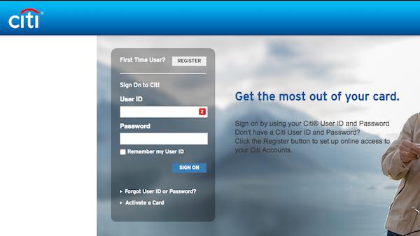 citibank online banking screenshot