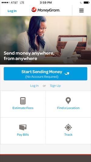 moneygram mobile app login screenshot