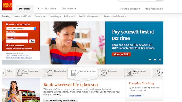 wells fargo online banking screenshot