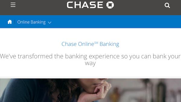 chase online banking screenshot