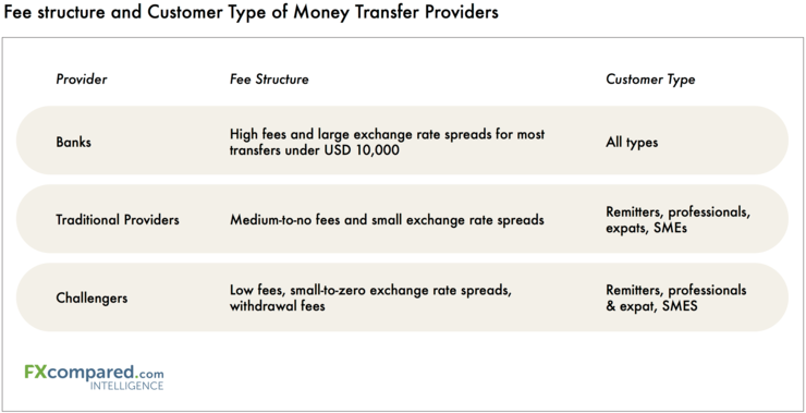 Fee Structure and Customer Type of Money Transfer Providers
