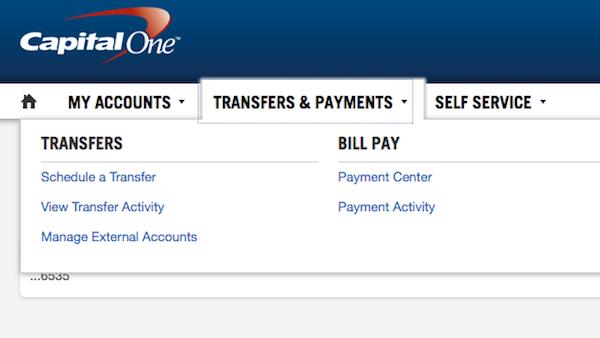 capital one online banking screenshot