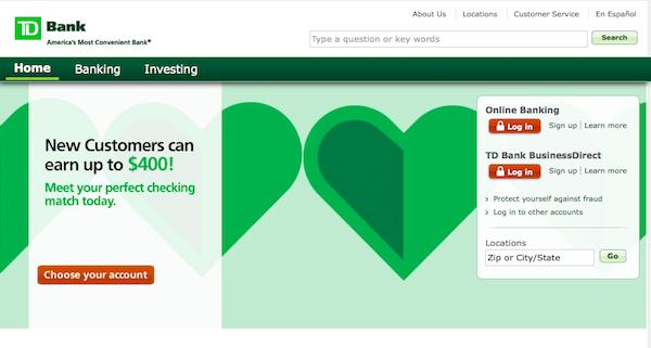 TD Bank online banking screenshot